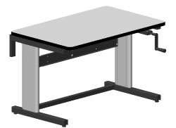 "HAND CRANK ADJUSTABLE WORK TABLE, DUAL LEG, ESD, 30""D x 48""W"